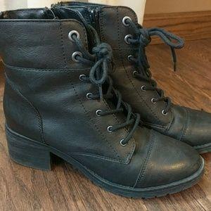 Black heeled combat boots